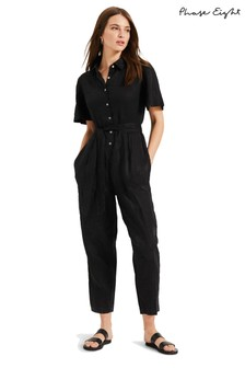 Phase Eight Black Lilian Linen Jumpsuit