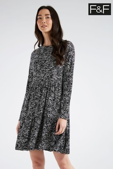 F&F Multi Mono Zebra Print Tiered Dress