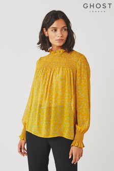 Ghost London Yellow Liv Leopard Print Georgette Blouse