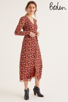 Boden Brown Hazel Midi Dress