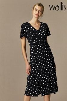 Wallis Spot Split Jersey Midi Dress