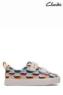 Clarks White Interest City Bright T Canvas Shoes