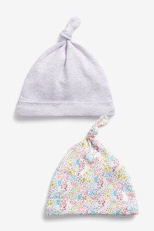 2 Pack Floral Tie Top Hats (0-18mths)