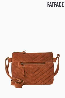 FatFace Brown Quin Quilted Suede Cross Body Bag