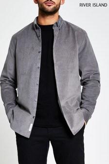 River Island Grey Light Cord Regular Fit Shirt