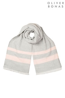 Oliver Bonas Grey Honeycomb Stripe Knitted Scarf