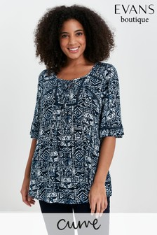 Evans Curve Navy Print Crochet Detail Top