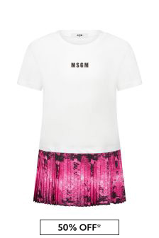 MSGM Girls White Cotton Dress