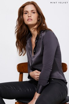 Mint Velvet Grey Silk Satin Front Shirt