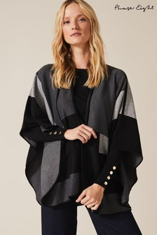 Phase Eight Black/Grey Nel Oversized Cape