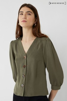 Warehouse Green Button Front Top