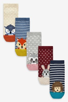 Woodland Animal Faces Trainer Socks Five Pack