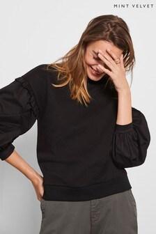 Mint Velvet Black Puff Sleeve Sweatshirt