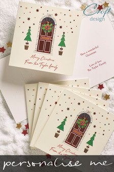 20 Pack Personalised Christmas Door Foiled Christmas Cards by Croft Designs
