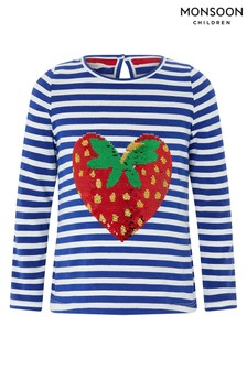 Monsoon Sequin Heart Strawberry Top