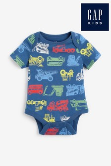 Gap Baby Blue Vehicle Print Bodysuit