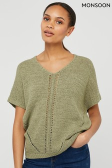 Monsoon Green Tyla Tape Yarn Jumper