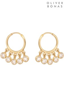 Oliver Bonas Multi Chessa Circle Stone Fan Gold Plated Hoop Earrings