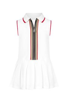 Burberry Kids Baby Girls White Cotton Dress