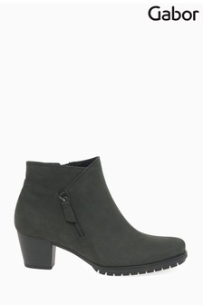 Gabor Grey Olivetti Extra Wide Foot Fit Nubuck Ankle Boots