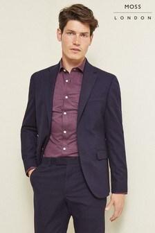 Moss London Slim Fit Navy Check Jacket