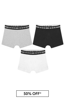 Boys Black Cotton Boxer Shorts Three Pack
