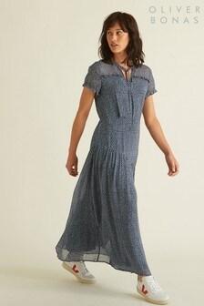 Oliver Bonas Blue Spot Print Midi Dress