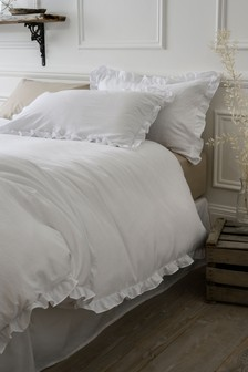 Ruffle Edge Duvet Cover And Pillowcase Set