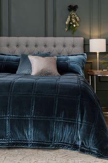 Airforce Blue Quinn Plush Velvet Duvet Cover and Pillowcase Set