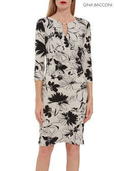 Gina Bacconi Cream Cladine Floral Jersey Dress