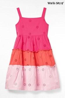 White Stuff Pink Kids Colourblock Tiered Woven Dress