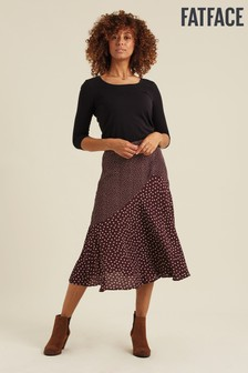 FatFace Purple Ellie Spot Midi Skirt