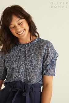 Oliver Bonas Blue Spot Print High Neck Top