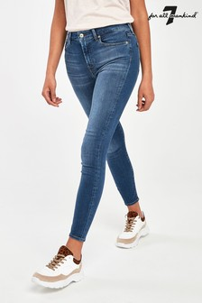 7 For All Mankind Mid Blue Aubrey High Waist Skinny Jeans