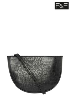 F&F Black Croc Effect Bag