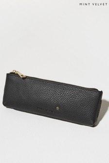Mint Velvet Black Leather Pencil Case