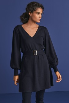Belted Volume Sleeve Jumper Dress