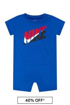 Nike Baby Boys Blue Cotton Romper