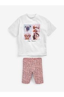 Dog Print T-Shirt & Cycling Shorts Set (3-16yrs)