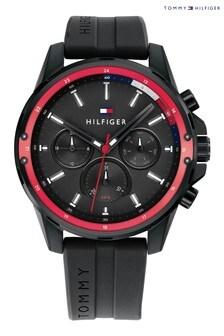 Tommy Hilfiger Black Silicone Strap Watch