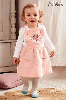 Boden Pink Floral Embroidered Pinafore