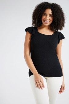 F&F Black Frill T-Shirts