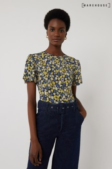 Warehouse Yellow Floral Puffball Sleeve Top