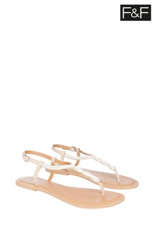 F&F Nude Embellished Leather Toe Thong Sandals