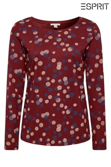 Esprit Red All Over Print Long Sleeve T-Shirt