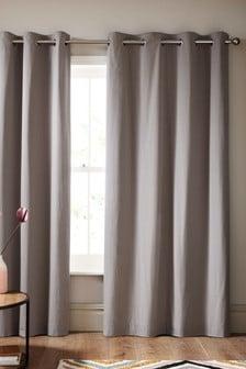 Текстурированные занавески с люверсами из ткани добби в горошек
