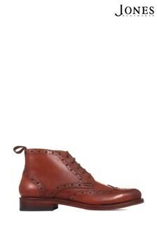 Jones Bootmaker Tan Wing-Tip Brogue Men's Ankle Boots
