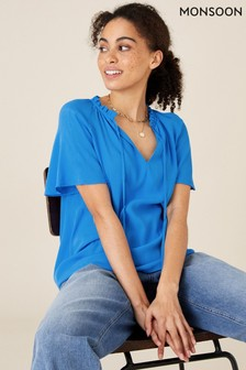 Monsoon Blue Tie Neck Short Sleeve Blouse