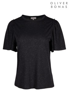 Oliver Bonas Navy Sparkle Gathered Sleeve Jersey Top