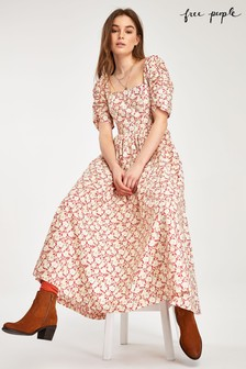 Free People Red Floral Square Neck Midi Dress